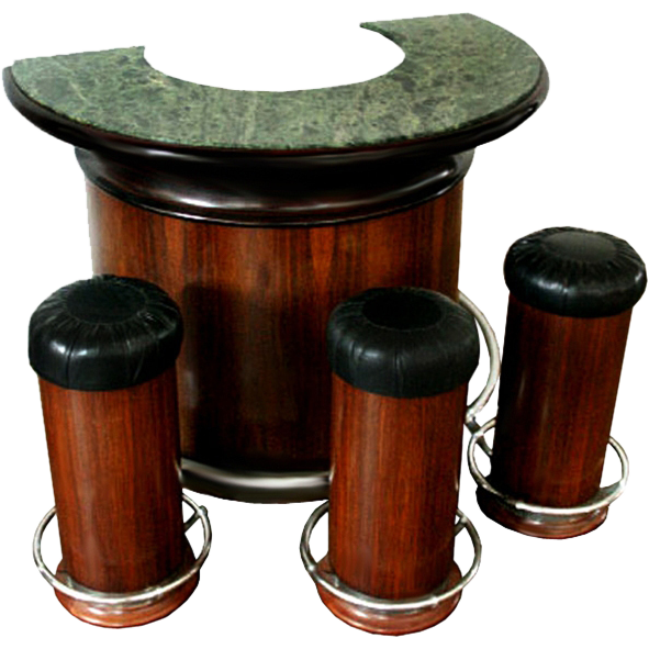 6808 Art Deco Round Bar & Set of 3 Bar Stools
