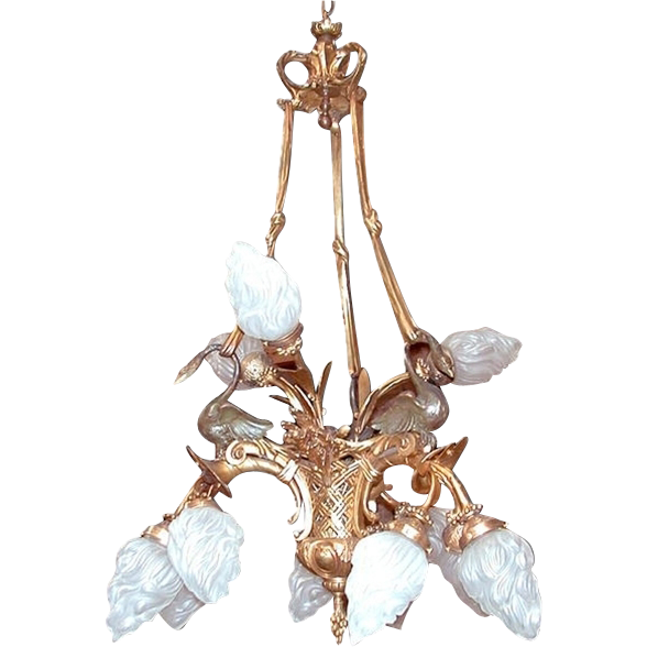 681 12-Light French Empire Chandelier with Swans & Bronze Ties