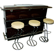 6829 Art Deco Bar with Matching Bar Stools
