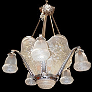 6833 Spectacular Art Deco 5-Tulip Chandelier