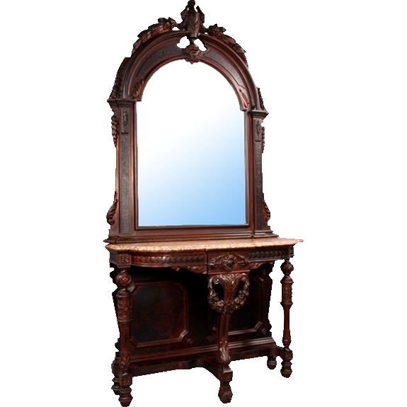 6933 American Renaissance Carved Walnut Marble Top Console and Matched Arched Top Mirror
