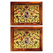 6934 Fantastic Pair of Antique American Victorian Stained Glass