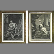 6943 Pair Intricately Detailed Portraits of Louis XVI & Marie Antoinette