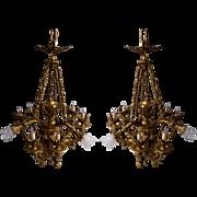 6944 Pair of Bronze Chandeliers with Nine Lights