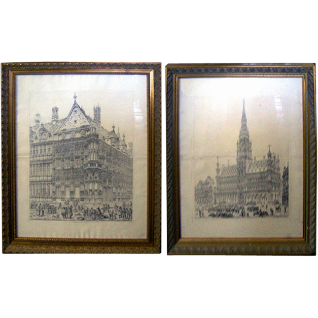 6959 Pair of Framed Church Prints