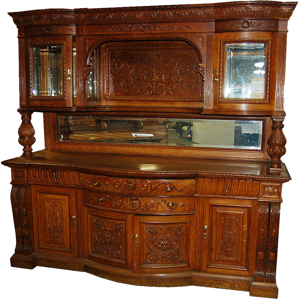 6962 Oak Sideboard with Curio Top c.1880