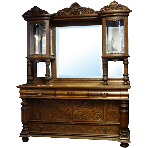 6963 Oak Sideboard with Curio Top c.1880