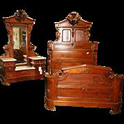 6972 Renaissance Revival 2-piece Walnut and Burl Bed set by Thomas Brooks