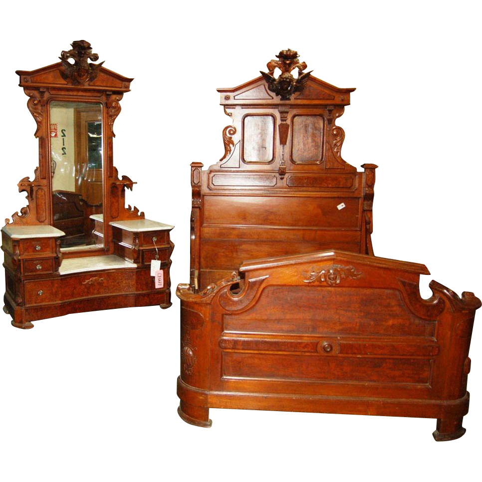 6972 Renaissance Revival 2-piece Walnut and Burl Bed set by Thomas Brooks