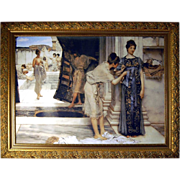 "6981A  Art Deco Print on Canvas in Large Gilt Frame ""Roman Bath"""