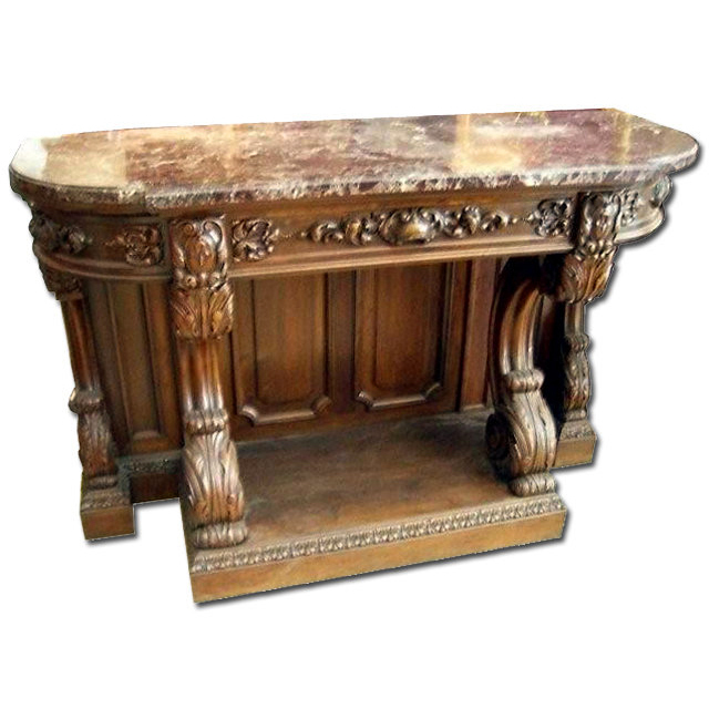 6984 Carved Console with Marble Top