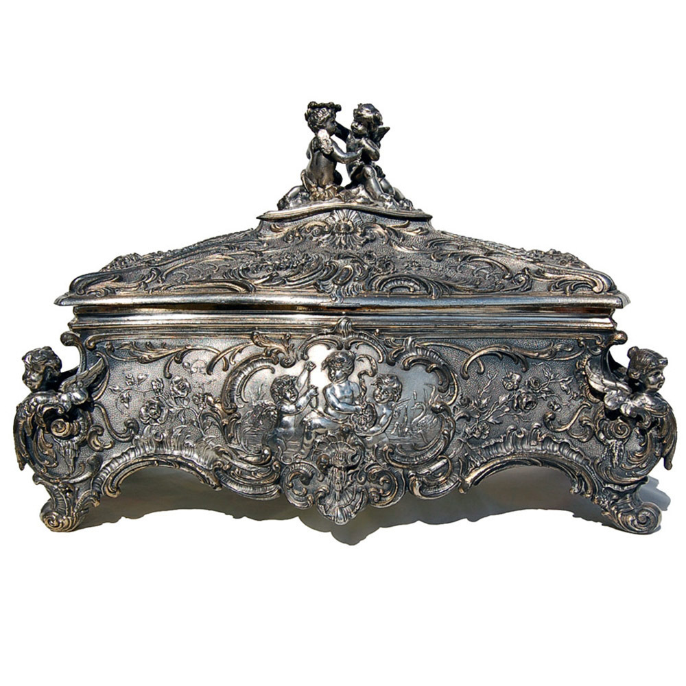 6986 Antique WMF Silver Jewelry Box with Cupid Motif