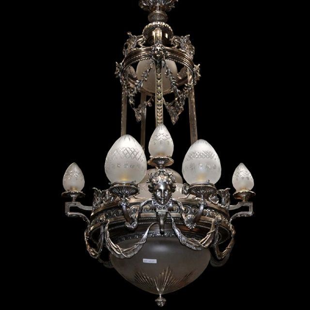 6991 Antique 19th C. Silver Over Bronze Chandelier with Female Masks