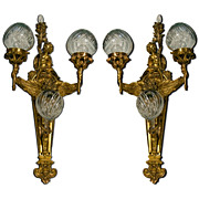 6996 Pair of French Bronze Winged Sconces