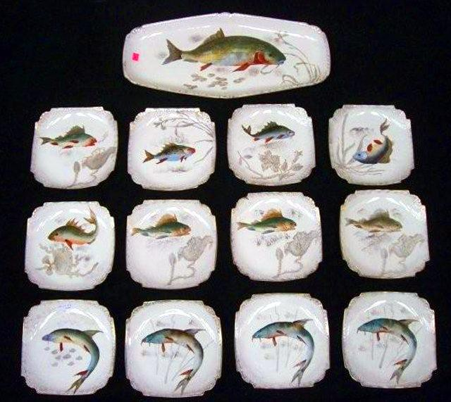 7002 Rare 19th C. 13-Piece Hand Painted Fish Plate Set