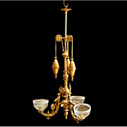 7007 Gilt Bronze Chandelier with Weights & Cherubs
