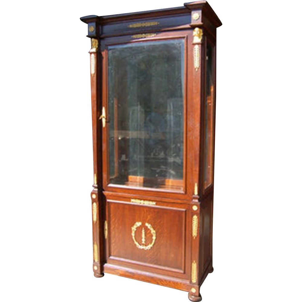 7010 late 19th c french empire vitrine with bronze trim. Black Bedroom Furniture Sets. Home Design Ideas