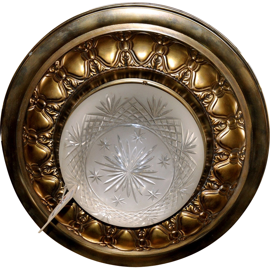 7011 Antique Bronze Flush Mount with Cut Crystal Bowl