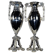 7013 Pair of Art Nouveau WMF Silver Plated Vases