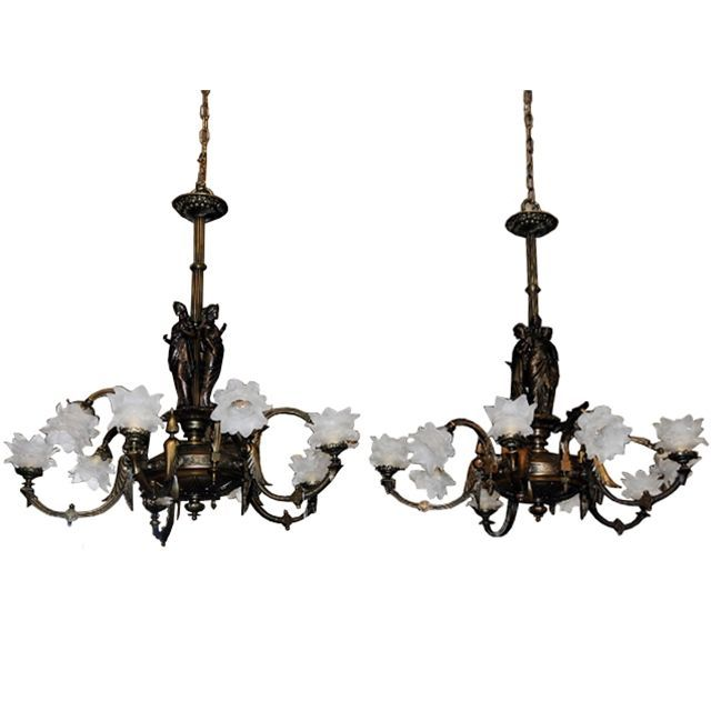 7014 Pair of Antique 19th C. Bronze Figural Gas Chandeliers
