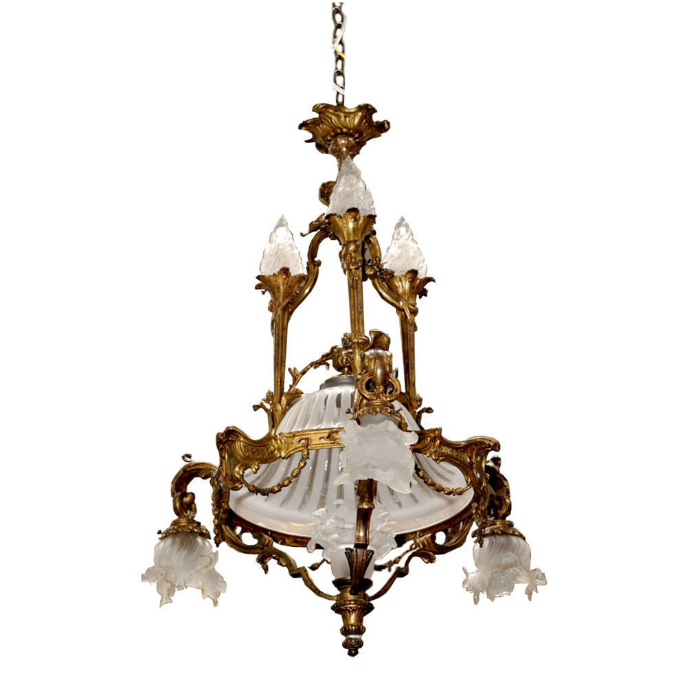 7016 French Bronze Art Nouveau Chandelier