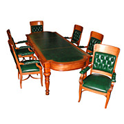 702 American Oak Conference Suite w/Carved Legs, Gold Tooled Green Leather Writing Top, Drawers and Fancy Curved Ends