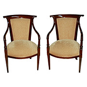 7024 Pair of Antique French Art Deco Armchairs