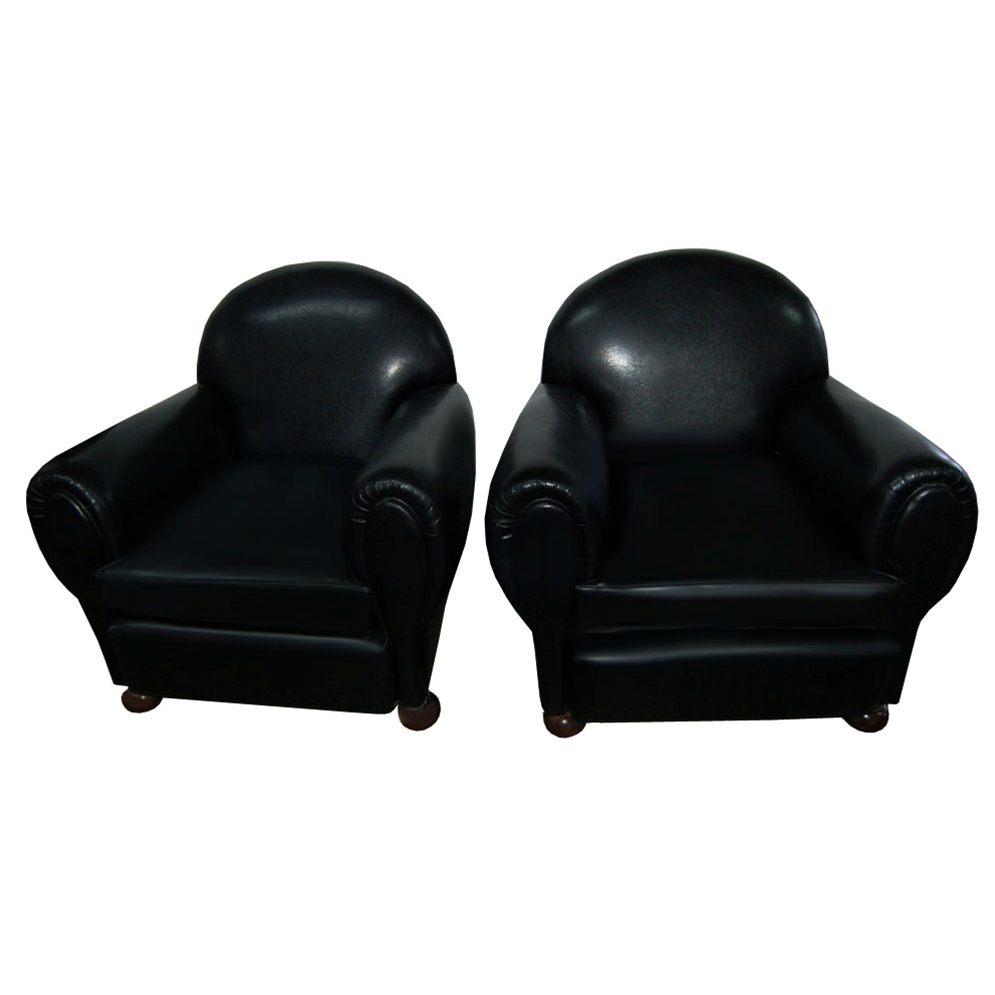 7026 Pair of Art Deco Black Leather Club Chairs c.1920