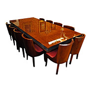 7028 French Art Deco Dining Set with Wrought Iron Base c.1920