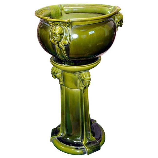 7031 Antique Green Majolica Ceramic Planter