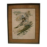 7048 Antique Print of Woman on Gondola
