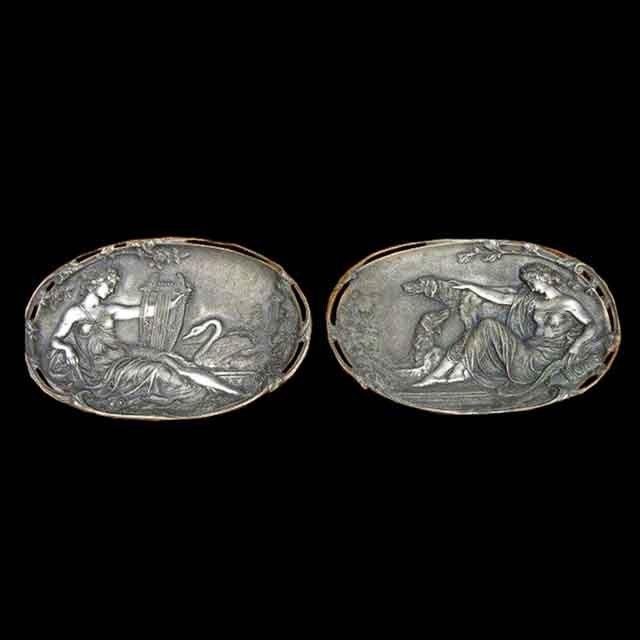 7050 Pair of Antique Bronze WMF Plaques