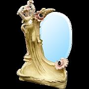 7064 19th C. Art Nouveau Lady Mirror