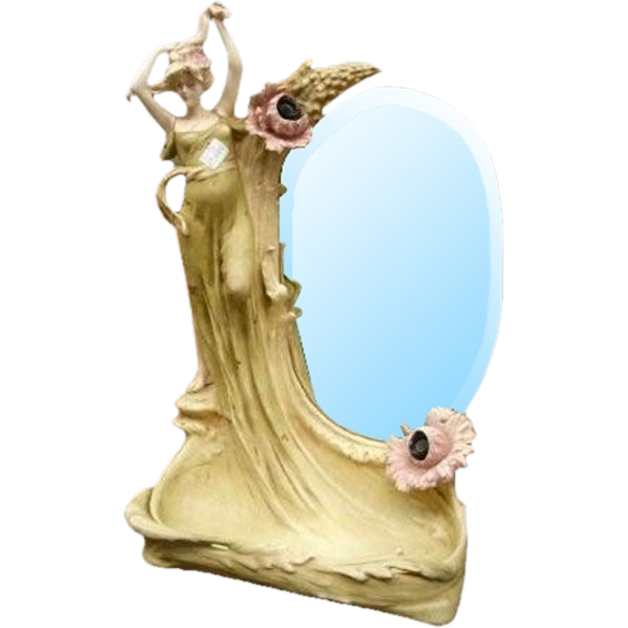7064 19th C. Art Nouveau Lady Mirror
