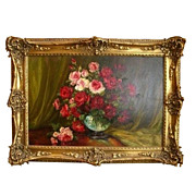 7082 Oil on Canvas Painting of Roses by Gaston Dubois