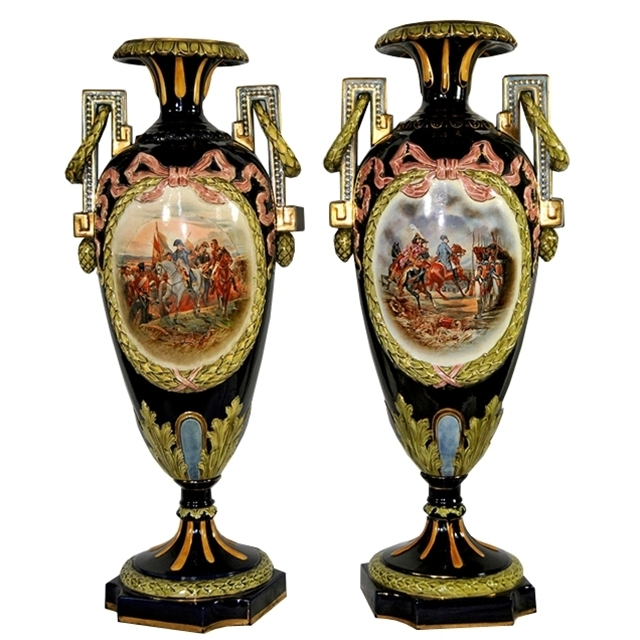7085 Pair of Signed Napoleon Majolica Vases