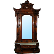 7110 Large Antique Carved American Victorian Hall Mirror c. 1870