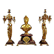 7117 Antique French Gilt Bronze & Marble Figural Garniture Clock Set