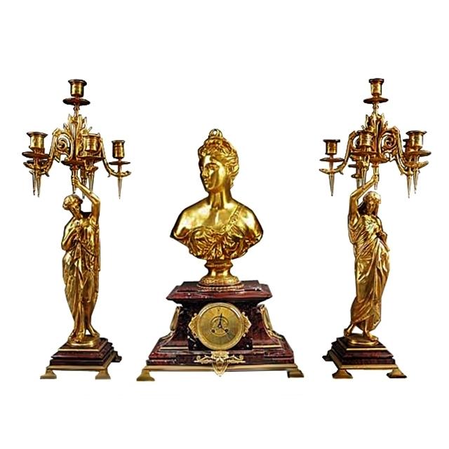 7117 Antique French Gilt Bronze & Marble Figural Garniture Clock Set