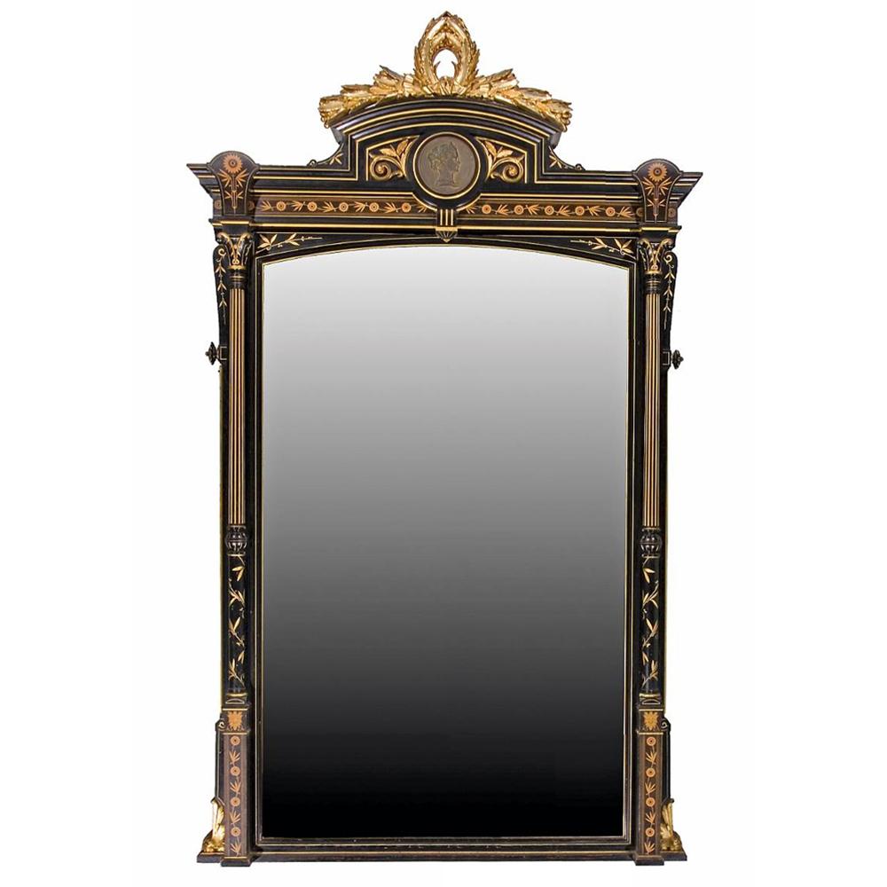 7119 Ebonized & Gilt Bronze Mounted Marquetry Pier Mirror