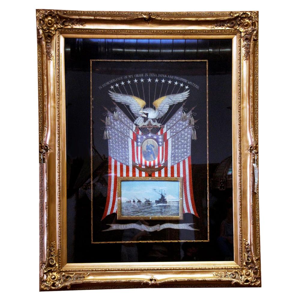 7125 Framed Naval Embroidery Memorabilia c. 1905