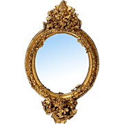7142 Highly Detailed Antique Gilt Wood Oval Mirror