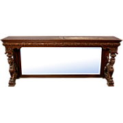 7143 American Victorian Carved Oak Console with Flanking Full Bodied Griffins