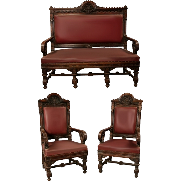 7146 Victorian Gothic Walnut Parlor Set Atrributed to Daniel Pabst