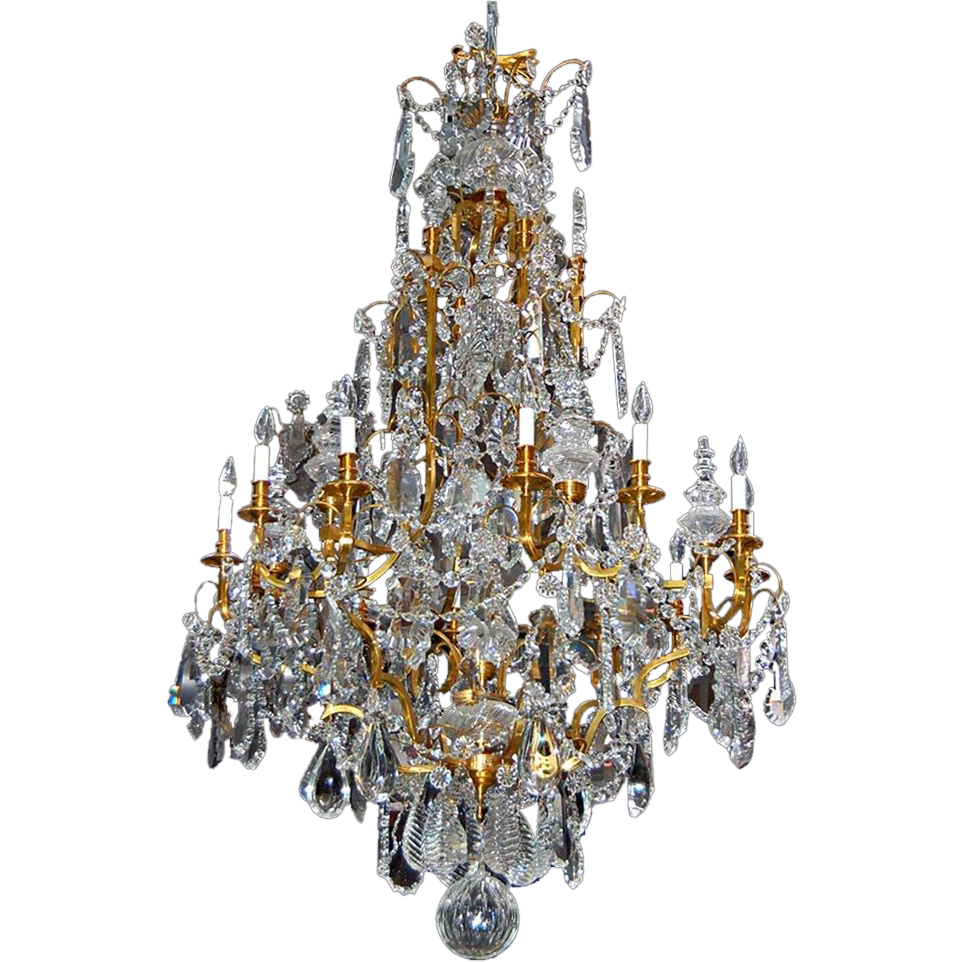 7170 19th Century Baccarat Crystal Chandelier with Bronze Frame