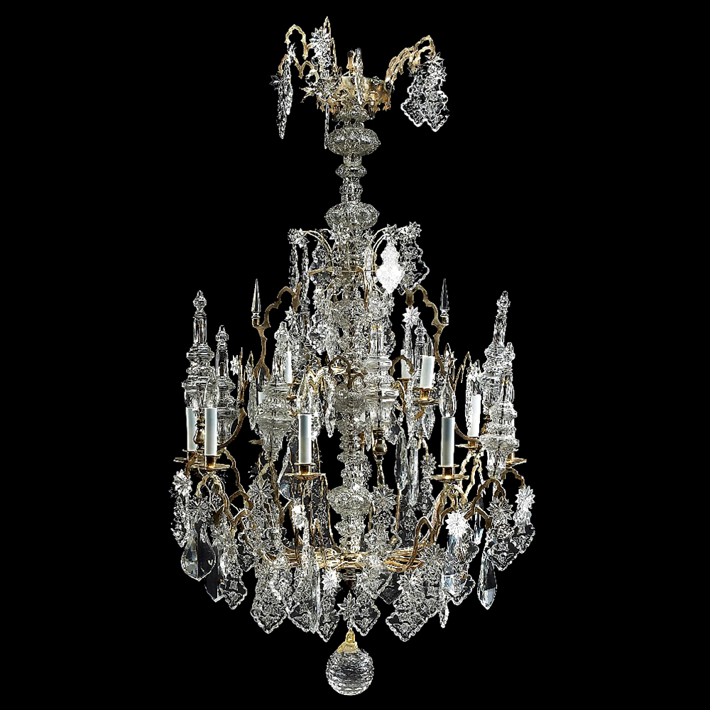 7173 Gothic Revival Gilt Bronze Iron & Glass 12-Light Chandelier