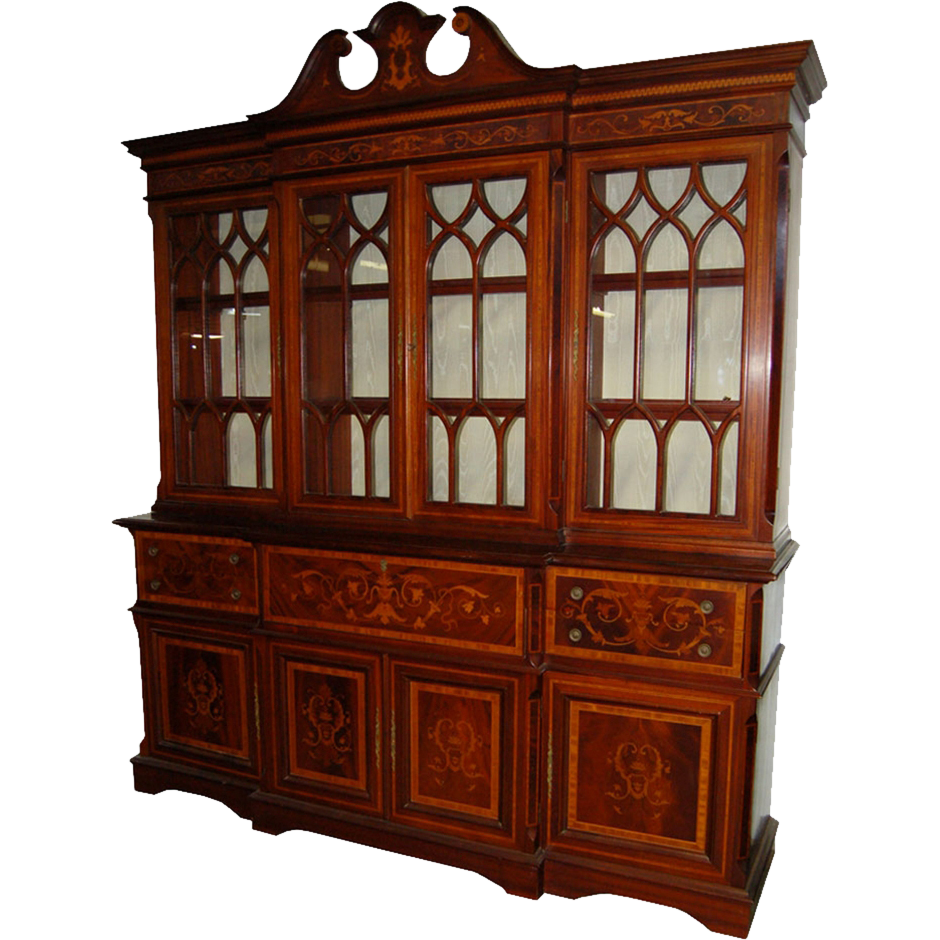 7181 19th C. English Inlaid Mahogany Bookcase