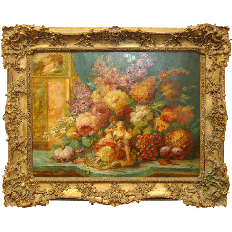 7183 Oil on Canvas Painting of Bunch A Basket of Flowers & Fruit