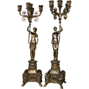7193 Pair of Silver Over Bronze Female Figural 5-Arm Candelabras