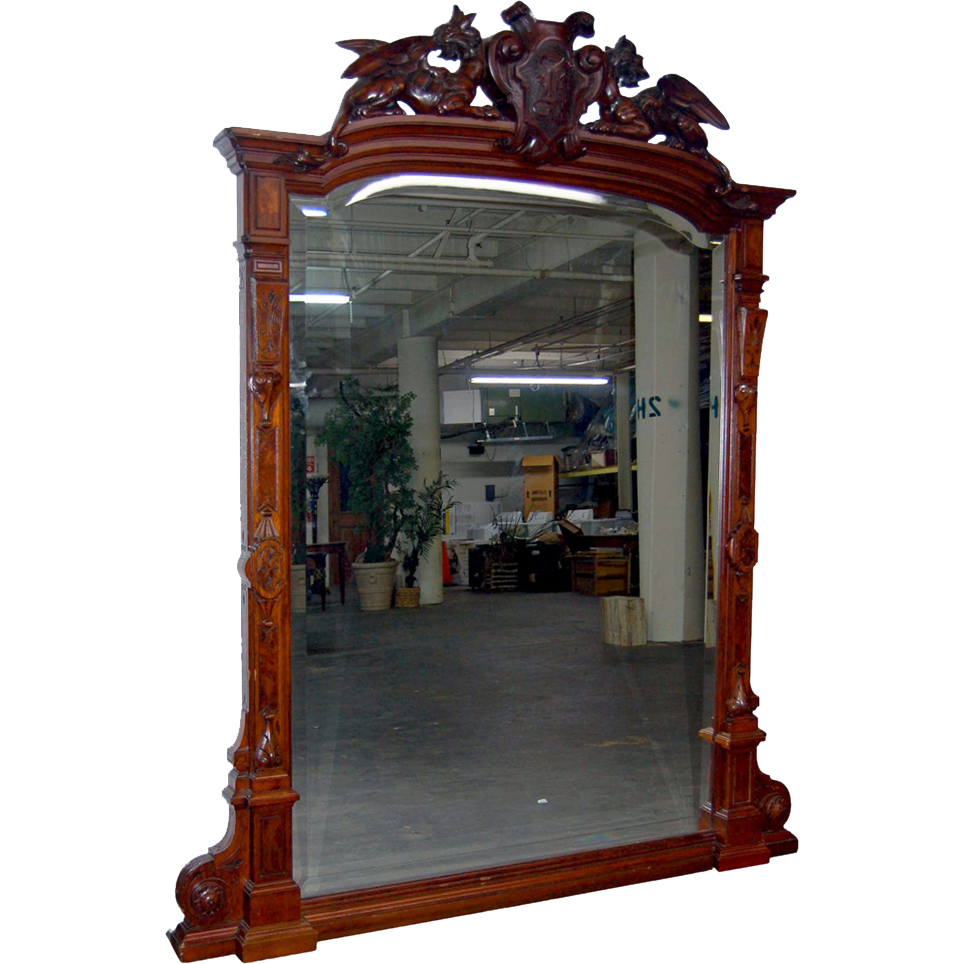 7196 Antique Renaissance Revival Carved Mahogany & Burl Walnut Mirror